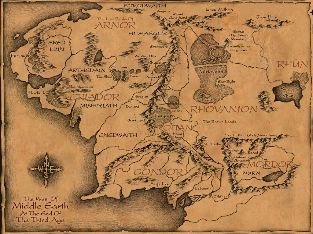 HiRes Map of Middle Earth 2400x2424 Xpost from rlotr MapPorn – The Map of Middle Earth