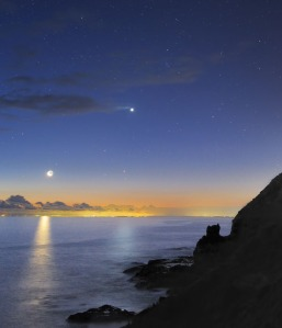 Moon and Venus Sunset